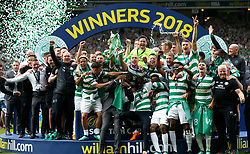 Celtic lift the trophy after the William Hill Scottish Cup Final at Hampden Park, Glasgow.