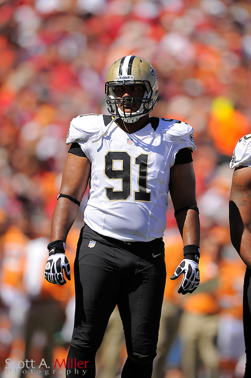 New Orleans Saints defensive end Will Smith (91) in action during the Saints game against the Tampa Bay Buccaneers at Raymond James Stadium  on Oct. 14, 2012 in Tampa, Florida. The Saints won 35-28....©2012 Scott A. Miller...