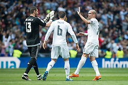 09.04.2016, Estadio Santiago Bernabeu, Madrid, ESP, Primera Division, Real Madrid vs SD Eibar, 32. Runde, im Bild Real Madrid's Kiko Casilla, Nacho Fernandez and Pepe // during the Spanish Primera Division 32th round match between Real Madrid and SD Eibar at the Estadio Santiago Bernabeu in Madrid, Spain on 2016/04/09. EXPA Pictures © 2016, PhotoCredit: EXPA/ Alterphotos/ Borja B.Hojas<br /> <br /> *****ATTENTION - OUT of ESP, SUI*****