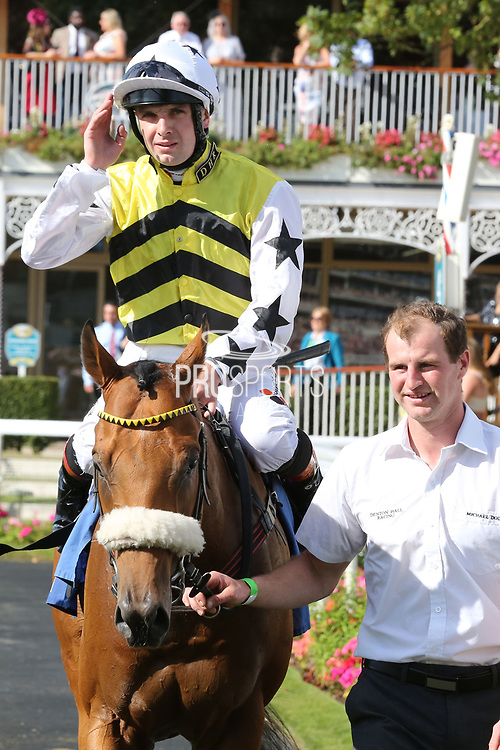 DAKOTA GOLD (1) ridden by Connor Beasley and trained by Michael Dods enters the Winners Enclosure after winning The Listed LNER Supporting CALM Garrowby Stakes over 6f (£50,000)  during the Family Race Day held at York Racecourse, York, United Kingdom on 8 September 2019.