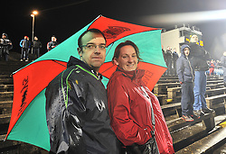Under Cover of the umbrella Mayo supporters John and Marie King look out on the action at McHale Park on saturday as Mayo took on the Dubs. <br /> Pic Conor McKeown