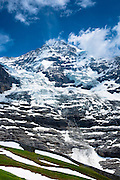 The Eiger Glacier, Eigergletscher, and Monch mountain in the Swiss Alps, Switzerland