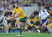 Scott Higginbotham sets to pass during the Rugby Union Championship International  between Australia and New Zealand played at Suncorp Stadium (Brisbane) on Saturday 20th October 2012 ~ Image : Steven Hight / Photosport