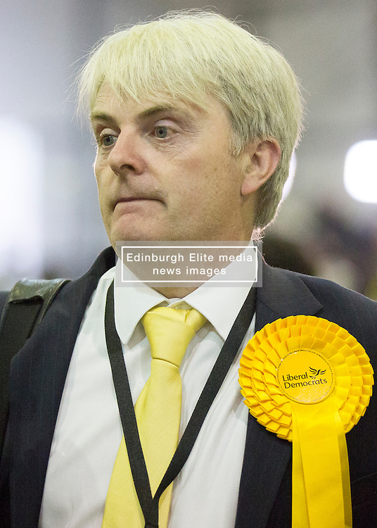 Scottish Parliament Election 2016 Royal Highland Centre Ingliston Edinburgh 05 May 2016; Martin Veart (Scottish Lib Dems) walks around the counting tables during the Scottish Parliament Election 2016, Royal Highland Centre, Ingliston Edinburgh.<br /> <br /> (c) Chris McCluskie | Edinburgh Elite media