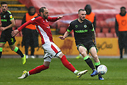 Forest Green Rovers Carl Winchester(7) passes the ball forward during the EFL Sky Bet League 2 match between Crewe Alexandra and Forest Green Rovers at Alexandra Stadium, Crewe, England on 27 April 2019.