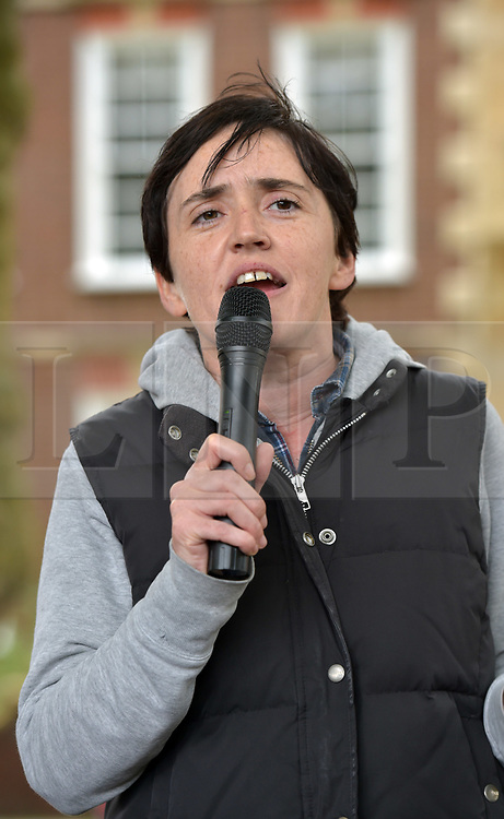 """© Licensed to London News Pictures.  10/09/2017; Bristol, UK. ANNE-MARIE WATERS, a candidate for the UKIP leadership, speaks to a group called British and Immigrants United Against Terrorism who joined forces with another group called Gays Against Sharia to stage a demonstration in Bristol city centre numbering about 50 people. A counter-protest was also held called 'Stand Up To Racism and Bigotry'. A statement issued to oppose the march says that the demonstrators """"claim falsely that they are representing the views of the LGBT+ community in Bristol,"""" adding: """"In fact, none of the organisers are LGBT+ and all the proposed speakers come from outside Bristol."""" A heavy police presence Police with riot vans dogs and horses were in attendance. Police banned face coverings, masks, banners and flags 'that might incite hatred' ahead of today's protests. Picture credit : Simon Chapman/LNP"""