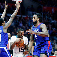 31 December 2017: Charlotte Hornets guard Kemba Walker (15) drives past LA Clippers center DeAndre Jordan (6) during the LA Clippers 106-98 victory over the Charlotte Hornets, at the Staples Center, Los Angeles, California, USA.