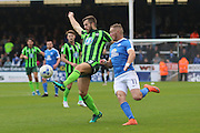 AFC Wimbledon defender Jon Meades (3) and Peterborough United striker Paul Taylor (10) during the EFL League 1 match between Peterborough United and AFC Wimbledon at ABAX Stadium, London Road, Peterborough, England on 22 October 2016. Photo by Stuart Butcher.