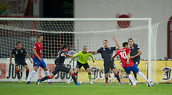 NOVI SAD, SERBIA - Tuesday, September 11, 2012: Wales players defend as Serbia's Dusan Tadic shoots during the 2014 FIFA World Cup Brazil Qualifying Group A match at the Karadorde Stadium. (Pic by David Rawcliffe/Propaganda)