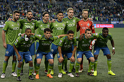 March 1, 2018 - Seattle, Washington, U.S - Soccer 2018: The Seattle Sounders starting eleven as Santa Tecla FC visits the Seattle Sounders for a CONCACAF match at Century Link Field in Seattle, WA. (Credit Image: © Jeff Halstead via ZUMA Wire)