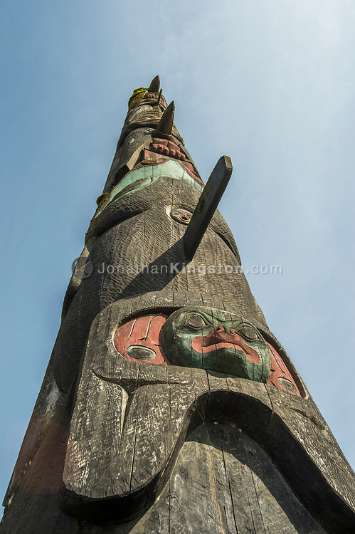 "Tlingit totem pole titled ""The Raven Pole"" in Petersburg, Alaska."