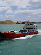 The Sealink ferry Seamaster transports vehicles from Waiheke Island to the Half Moon Bay Marina near Auckland, New Zealand.