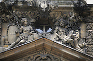 France. Paris. 4th district. sculptures.  Massillon school former hotel fieubet in le marais       / facade sculptures Ecole Massillon ancien hotel Fieubet. le marais