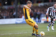 GOAL Mickey Demetriou scores to give Newport the lead 1-0 during the EFL Sky Bet League 2 match between Newport County and Notts County at Rodney Parade, Newport, Wales on 6 May 2017. Photo by Daniel Youngs.