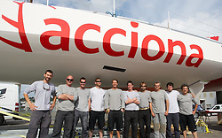 Imoca 60 ACCIONA..Works on board in Brest ,France,before the launching