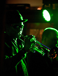 The G-MEN Soul Band at Meadow Farm.Trumpet - Mick Johnson.16 February 2013.Image © Paul David Drabble