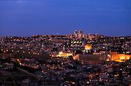 Night view from the South of the Old City of Jerusalem, with the Jewish Quarter, Western Wall, Temple Mount and Dome of the Rock in the center. WATERMARKS WILL NOT APPEAR ON PRINTS OR LICENSED IMAGES.