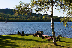 The lawn behind Chalet Moosehead on Moosehead Lake in Greenville, Maine.