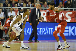 25.02.2014, Audi Dome, Muenchen, GER, Beko Basketball BL, FC Bayern Muenchen Basketball vs Artland Dragons, 22. Runde, im Bild Antonio Graves(Artland Dragons), Malcon Delaney (FC Bayern Muenchen Basketball), v li Aktion // during the Beko Basketball Bundes league 22. round match between FC Bayern Munich Basketball and Artland Dragons at the Audi Dome in Muenchen, Germany on 2014/02/25. EXPA Pictures © 2014, PhotoCredit: EXPA/ Eibner-Pressefoto/ Buthmann<br /> <br /> *****ATTENTION - OUT of GER*****