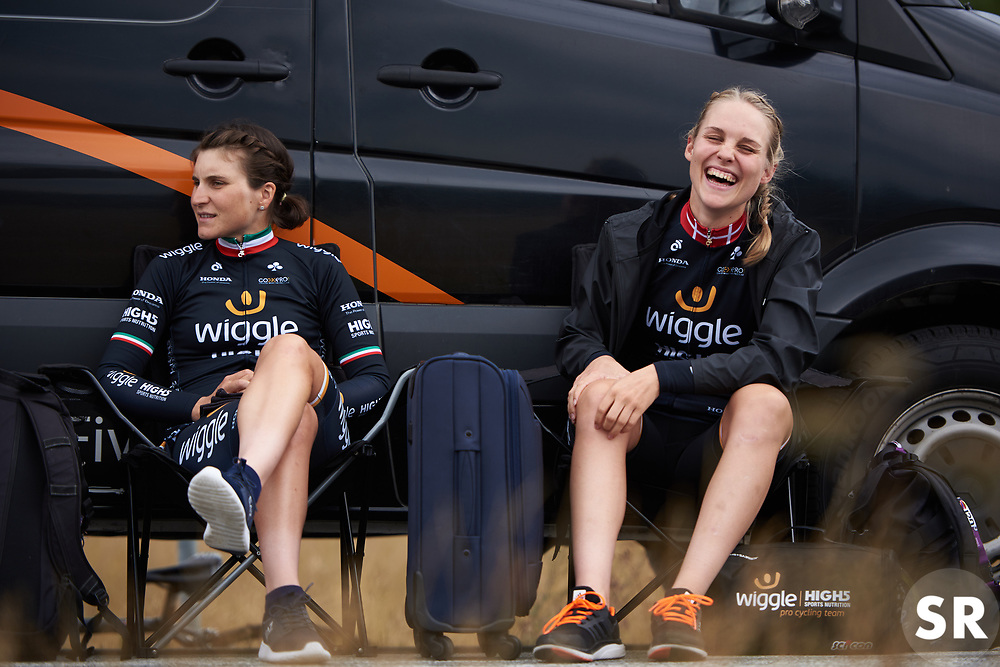 Julie Leth (DEN) laughs with her Wiggle High5 teammates at Ladies Tour of Norway 2018 Team Time Trial, a 24 km team time trial from Aremark to Halden, Norway on August 16, 2018. Photo by Sean Robinson/velofocus.com