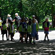 London, UK. 27 June 2019. UK Weather - The Hottest week in June 2019 Teachers taking school children for a walk at Green Park, London, UK
