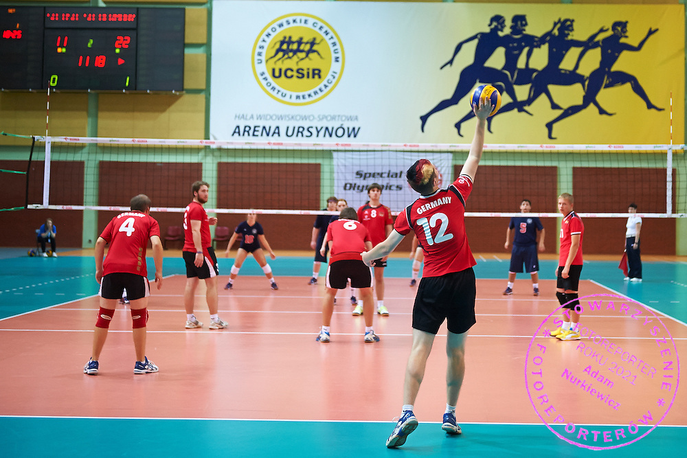 Volleyball match between SO Germany (red) and SO USA (blue) during of The Special Olympics Unified Volleyball Tournament at Ursynow Arena in Warsaw on August 28, 2014.<br /> <br /> Poland, Warsaw, August 28, 2014<br /> <br /> For editorial use only. Any commercial or promotional use requires permission.<br /> <br /> Mandatory credit:<br /> Photo by &copy; Adam Nurkiewicz / Mediasport