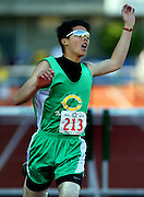 05/23/2009 - Cleveland's Howard Loa (213) leaves it all on the track after completing the 5A Boy's 300 Meter Hurdles. The 2009 OSAA/U.S. Bank/Les Schwab Tires 6A-5A-4A Track and Field State Championships were run at Hayward Field in Eugene, Oregon.....KEYWORDS:  City, Portland, sports, Oregon, high school, OSAA, boys, girls, PIL, run, University, team