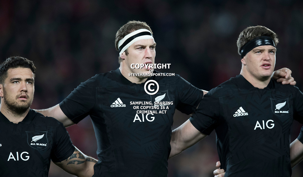 Scott Barrett Brodie Retallick Codie Taylor during game 7 of the British and Irish Lions 2017 Tour of New Zealand, the first Test match between  The All Blacks and British and Irish Lions, Eden Park, Auckland, Saturday 24th June 2017<br /> (Photo by Kevin Booth Steve Haag Sports)<br /> <br /> Images for social media must have consent from Steve Haag