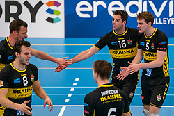 Jeroen Rauwerink #2 of Dynamo, Freek de Weijer #8 of Dynamo, Mats Kruiswijk #16 of Dynamo, Sjors Tijhuis #5 of Dynamo celebrate in the second round between Sliedrecht Sport and Draisma Dynamo on February 29, 2020 in sports hall de Basis, Sliedrecht