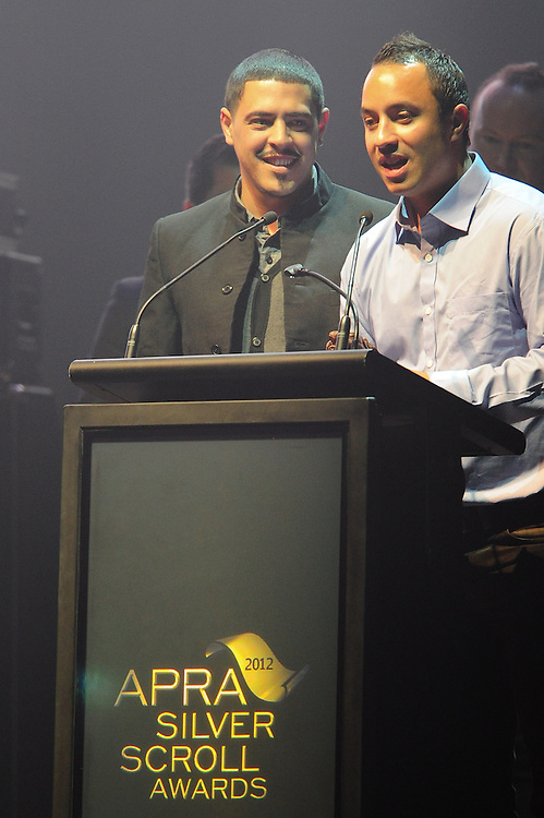 David Atai and Te Awanui Reeder, winners of the APRA Maioha Award at the APRA Silver Scroll Awards 2012. Auckland Town Hall. 13 September 2012.