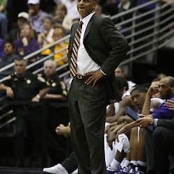 14 February 2009 LSU Tigers head coach Trent Johnson watches his team from the bench during a NCAA basketball game between SEC rivals the Ole Miss Rebels and the LSU Tigers at the Pete Maravich Assembly Center in Baton Rouge, LA.