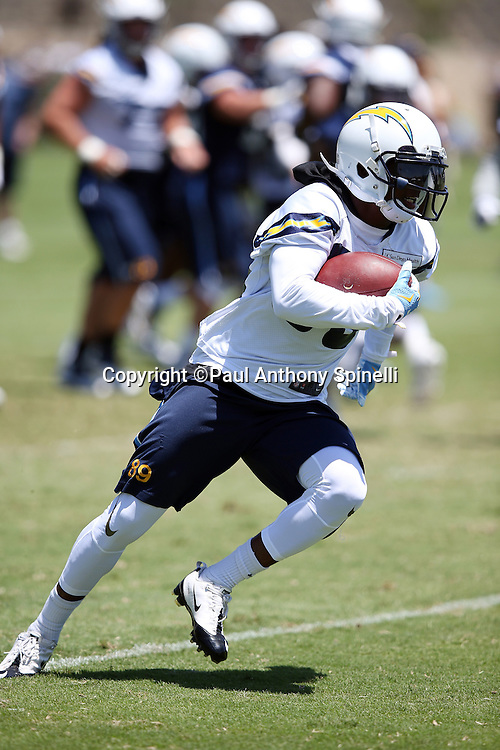 San Diego Chargers wide receiver Isaiah Burse (89) runs with the ball after catching a pass during the Chargers 2016 NFL minicamp football practice held on Tuesday, June 15, 2016 in San Diego. (©Paul Anthony Spinelli)