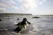 BORTH, WALES, UK 17TH AUGUST 2019 - Long exposure landscape of ancient petrified tree stumps lining the shoreline at Borth Beach, County of Ceredigion, Mid Wales, UK. <br />
