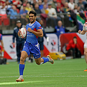 Elisapeta Alofipo scores Manu Samoa's second try in their magnifent upset vs England 21-5 at Canada 7's, Day 1, BC Place, Vancouver, British Columbia, Canada.  Photo by Barry Markowitz, 3/10/18, 4pm