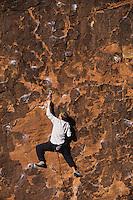 Rock climber climbing cliff