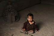 Konyak Naga child<br /> Konyak Naga headhunting Tribe<br /> Mon district<br /> Nagaland,  ne India