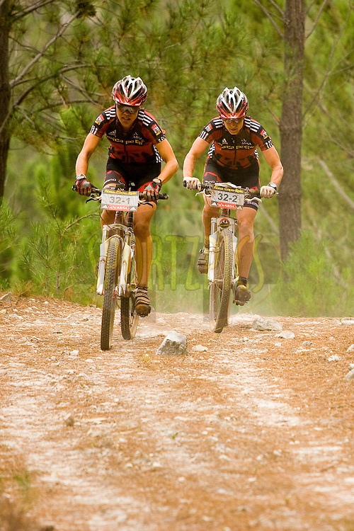 WESTERN CAPE, SOUTH AFRICA -  5 April 2008, womens overall and stage winners Pia Sundstedt and and Alison Sydor during stage eight of the 2008 Absa Cape Epic Mountain Bike stage race from Oak Valley, Elgin to Lourensford Estate, Somerset West in the Western Cape, South Africa..Photo by Sven Martin/SPORTZPICS