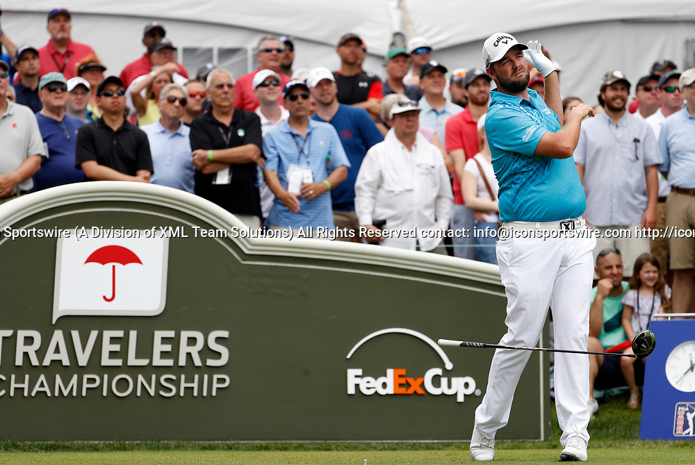 CROMWELL, CT - JUNE 24: Marc Leishman of Australia drops his driver on the first tee during the third round of the Travelers Championship on June 24, 2017, at TPC River Highlands in Cromwell, Connecticut. (Photo by Fred Kfoury III/Icon Sportswire)