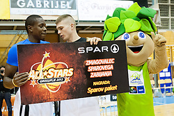 Ousman Senega Krubally and Edo Muric during Slovenian basketball All Stars Grosuplje 2013 event, on December 29, 2013 in Arena Brinje, Grosuplje, Slovenia. (Photo By Urban Urbanc / Sportida.com)