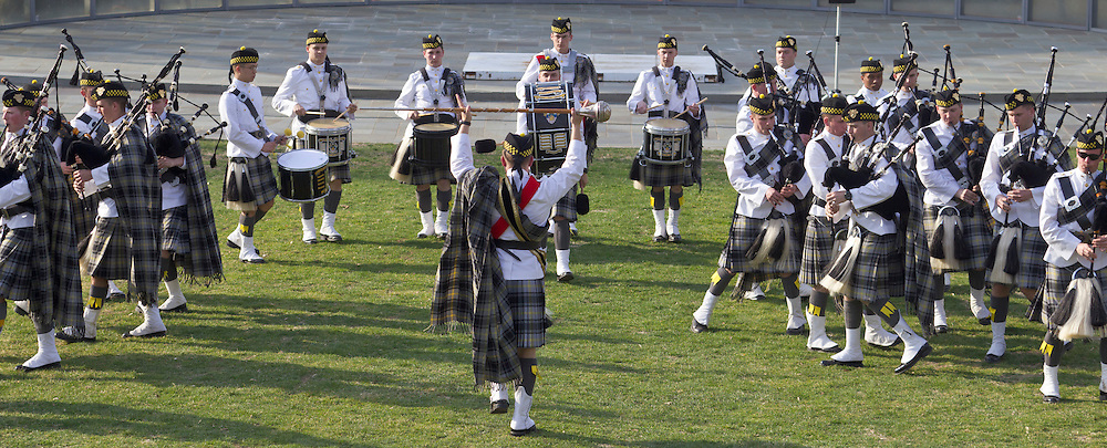 West Point, New York - The United States Corps of Cadets Pipes & Drums perform at the 32nd annual West Point Military Tattoo at Trophy Point at the United States Military Academy  on April 13, 2014. The United States Corps of Cadets Pipes & Drums is a bagpipe, drum, and dance ensemble.