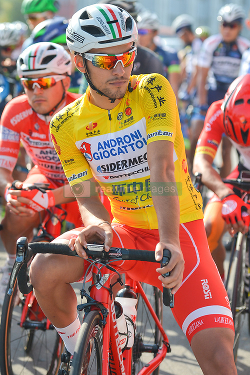 September 12, 2017 - Yunzhu, China - Luka Pacioni from Androni-Sidermec-Bottecchia team in the Leader Yellow Jersey ahead of the start to the second stage Jinzhong A to B race of the 2017 Tour of China 1, the 197km from Dazhai to Yunzhu. .On Tuesday, 12 September 2017, in Dashai, Jinzhong, Shanxi Province, China. (Credit Image: © Artur Widak/NurPhoto via ZUMA Press)