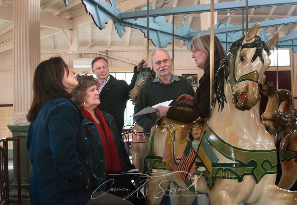People ride Meridian's Dentzel Carousel, Jan. 15, 2011 in Meridian, Miss. The carousel, which was built in 1896, is hand-carved and painted and is listed on the National Register of Historic Places. It is one of only 11 carousels nationwide to be named a National Landmark, and it is located in the only carousel building that remains from Dentzel's original blueprint. The carousel is open on Saturdays from 1 p.m. to 5 p.m. through March. Rides are 50 cents per person. (Photo by Carmen K. Sisson/Cloudybright)