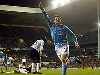 Photograph: Scott Heavey.<br /> Tottenham Hotspur v Manchester City. FA Cup Fourth Round Replay. 04/02/2004.<br /> Jon Macken celebrates his winner