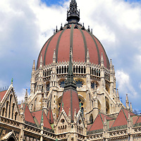 Dome of Parliament Building in Budapest, Hungary <br /> The Renaissance Revival dome of the Hungarian Parliament Building reaches a height of 315 feet. This makes it Budapest's tallest building, a distinction it shares with St. Stephen's Basilica. This measurement of 96 meters symbolizes the 1896 Millennium Celebration of Hungary's formation.