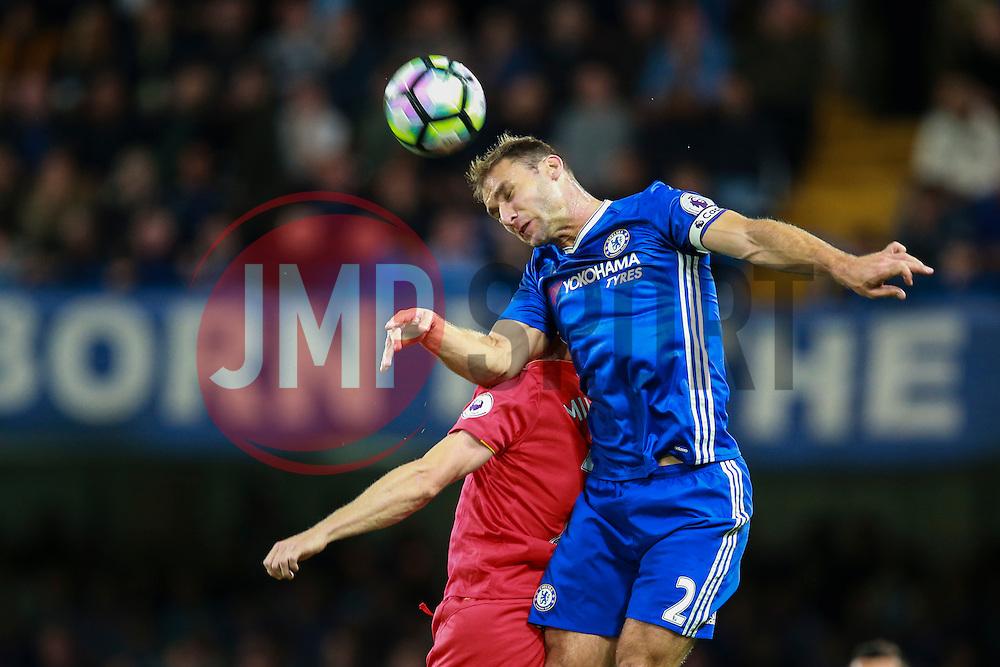 Branislav Ivanovic of Chelsea heads the ball - Mandatory by-line: Jason Brown/JMP - 16/09/2016 - FOOTBALL - Stamford Bridge - London, England - Chelsea v Liverpool - Premier League