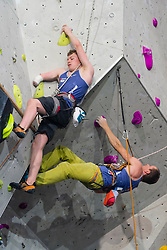 Matthew Phillips of Great Britain  (left) in the final of the Mens AU-2 (forearm amputee) climb and Michael Cleverdon also of Great Britain in the final of the Mens RP3 (limited range, power or stability) at theParaclimbing Cup at  the International Federation of Sport Climbing (IFSC) World Cup 2017 at Edinburgh International Climbing Arena, Scotland, United Kingdom.