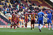 Bradford City forward Dominic Poleon (11) scores a goal 1-0 and celebrates  during the EFL Sky Bet League 1 match between Bradford City and Gillingham at the Northern Commercials Stadium, Bradford, England on 24 March 2018. Picture by Mick Atkins.