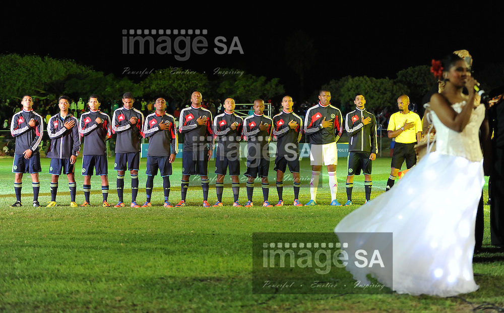 CAPE TOWN, South Africa - Friday 29 March 2013, Ajax Cape Town players sing the South African national anthem during the opening ceremony of the 25th Metropolitan Premier Cup soccer tournament taking place at Erica Park Sports Complex in Belhar..Photo by Roger Sedres/ ImageSA