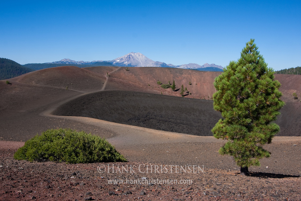 A large crater cuts into the top of the cinder cone, with views of Mt. Lassen in the distance, Lassen National Park