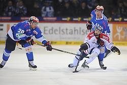 20.02.2015, Helios-Arena, Schwenningen, GER, DEL, Schwenninger Wild Wings vs Eisbären Berlin, 49. Runde, im Bild (v.l.n.r.) Dan Hacker (Schwenninger Wild Wings) Darin Olver (Eisbaeren Berlin) Morten Green (Schwenninger Wild Wings), // during Germans DEL Icehockey League 49th round match between Schwenninger Wild Wings and Eisbären Berlin at the Helios-Arena in Schwenningen, Germany on 2015/02/20. EXPA Pictures © 2015, PhotoCredit: EXPA/ Eibner-Pressefoto/ Laegler<br /> <br /> *****ATTENTION - OUT of GER*****